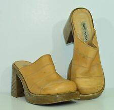 "Vintage 1990s STEVE MADDEN ""Brooklyn"" Women's 7B Tan LEATHER Platform SHOES"