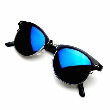 Retro Fashion Half Frame Flash Mirror Lens Clubmaster Wayfarer Sunglasses
