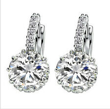Silver Women Crystal Rhinestone Ear Stud Hoop Earrings