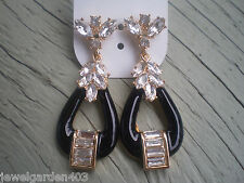 ALDO GOLD TONE & BLACK  with BLING UBER GLAM  STATEMENT EARRINGS