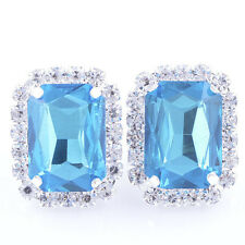 Vintage White Gold Filled Sky Blue Square Crystal womens Ear Stud Earrings