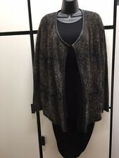 Eileen Fisher L BLACK MOHAIR BLEND Leather Trim Open Front CARDIGAN JACKET