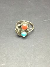 Turquoise And Red Coral Sterling Silver Feather Adorned Ring Size 6.5