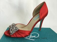 $129 Blue by BETSEY JOHNSON Gown Red Satin Open Toe Jeweled Heel Sz 9.5 M New