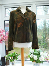 "GORGEOUS ""OLSEN"" DARK GREEN SOFT CORD JACKET WITH REMOVABLE FAUX FUR COLLAR 16"