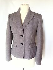 ESPRIT Women's BROWN BEIGE TWEED BLAZER HERTIGE WOOL BLEND JACKET UK 8, FR 36