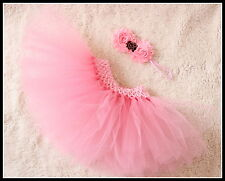 Baby Girl Valentine Rose Tutu Skirt & Headband Photo Prop Costume Outfit 0-6m