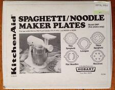 KitchenAid Spaghetti Noodle Maker Plates Model SNP Lasagna Recipe Book