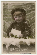 c 1912 Adorable little WNTER TIME KID children child antique photo postcard