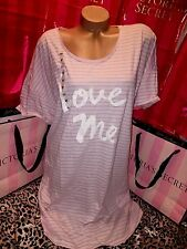 Victorias Secret Cotton Sleepshirt Nightie Love Me Striped Pink XL