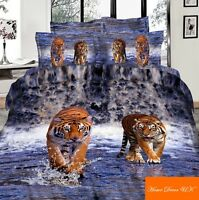 Double size Tigers on water print 3d duvet cover bedding set 100% cotton