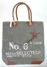 Vintage Army Canvas and Reclaimed Leather Luxury Designer Shopping Bag Handbag
