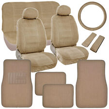 Classic Beige Seat Covers for Car Truck SUV Auto w/ Ribbed Floor Mats