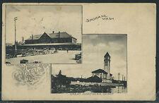 WA Spokane ALBERTYPE 1908 NORTHERN PACIFIC RR DEPOT Split View GREAT NORTHERN GN
