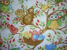 CLEARANCE   FQ WOODLAND FRIENDS OWLS BIRDS NEST TREES SQUIRRELS FABRIC