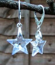 925 STERLING SILVER EARRINGS - SWAROVSKI ELEMENTS- CRYSTAL MOONLIGHT 20mm STAR