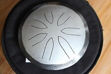 "Ajna 10"" 7 Tone H. Silver/Black Steel Tongue Drum - Pentatonic Scale - USA Made"