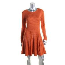 Calvin Klein 0318 Womens Orange Fit & Flare Cable Knit Casual Dress L BHFO