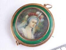 Antique portrait miniature  in 9ct rose gold & enamel large  brooch mount/frame