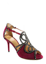 NEW CHARLOTTE OLYMPIA Plum Suede Crystal Detail Shanglow Pumps Sz 38.5 8.5 $1425