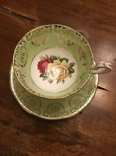 QUEEN ANNE TEA CUP AND SAUCER LIME GREEN ROSES PATTERN TEACUP