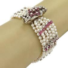 Vintage 2.90ct Diamond Ruby & Pearls Watch 14k Gold Multi-Strand Tassel Bracelet