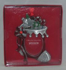 """Pinnacle Frames Ornament Pewter European Crystals STOCKING Holds 1.5"""" x 2"""" Photo"""