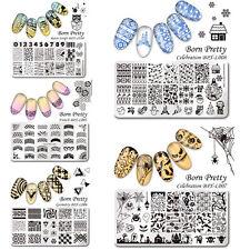 5stk born Pretty navidad & Halloween clavo stamping galería de símbolos placa set
