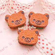 Toasted Bear Sandwich Cabochon | Food Charms | Food Cabochon | Decoden | 7pc
