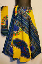 African Dashiki Print wrap around Skirt Maxi Vintage 70s Yellow Free size