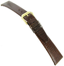 18mm Kreisler Genuine Java Lizard Tan Brown Flat Unstitched Mens Watch Band