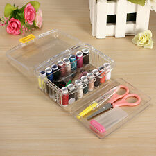 40x Sewing Kit Thread Threader Needle Tape Measure Scissor Thimble Storage Box