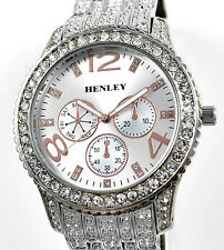 Henley Mens Mega Big Silver Tone & Rose Gold Detail Sparkly Crystal Bling Watch