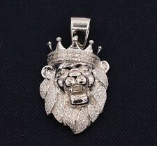 "2"" Men's Lion's Head Iced Out CZ Greek Crown Pendant White Sterling Silver 925"