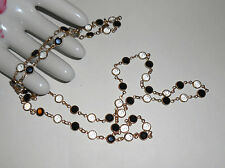 "VTG Swarovski Signed Black & White Crystals Bezels Necklace, G.P. 32"" SWAN LOGO"