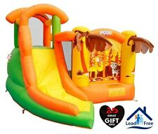 Inflatable Residential Bounce House Super Safari Curve Slide with Climbing Wall