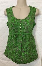 Cato Green Sleeveless Top Small S Cotton floral print Spring Summer B4