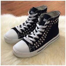 Womens Balera Black White Studded High Top Dance Sneakers Size 7 EUC