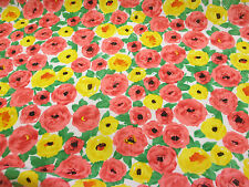 4 metres Pink & Yellow Poppy,Poppies Floral Printed Peachskin Dress Fabric.