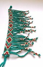 Vintage Native American style seed beed mulicolored bracelet with bead fringe