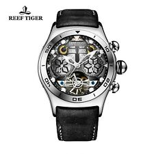 Reef Tiger Mens Unique Tourbillon Watch with Year Month Date Day and Skeleton...