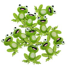 10PCs Wooden Embellishments Green Charm Frog Pattern Fit Necklace/DIY 38x33mm
