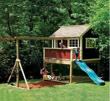 Kids Playhouse Swing Set - Detailed woodworking plans in PDF