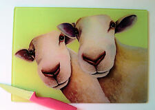 Unique Lime Green Glass Chopping Board with vibrant SHEEP design by Maria Moss