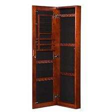 Armoire Jewelry Storage Cabinet Bedroom Furniture Cherry Frame Mirror Wall Mount