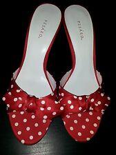 EUC Pesardo red polka dot white sandal slimming retro pinup 8 heel pinup vintage