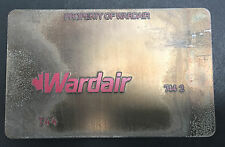 Vintage Wardair Metal Ticket Validation Plate, Travel Agent, Airline Collectible