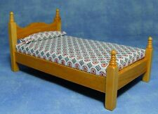 DOLLS HOUSE1/12th SCALE  SINGLE PINE WOODEN BED WITH MATTRESS