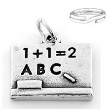 "STERLING SILVER ""CHALK BOARD"" CHARM WITH SPLIT RING"