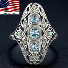 1CT Aquamarine & Opal 925 Solid Genuine Sterling Silver Filigree Ring Sz 6